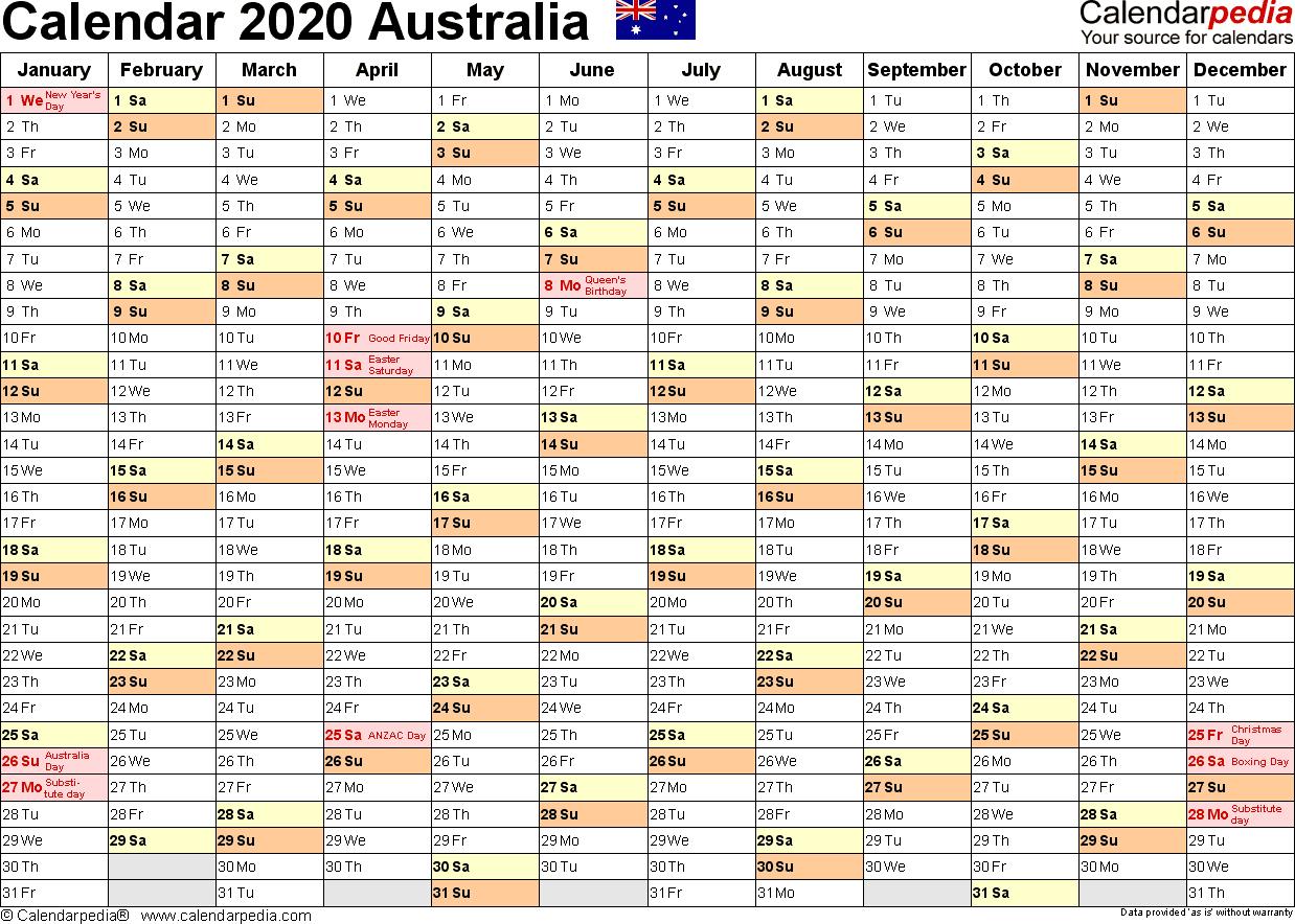 Australia Calendar 2020 - Free Printable Pdf Templates