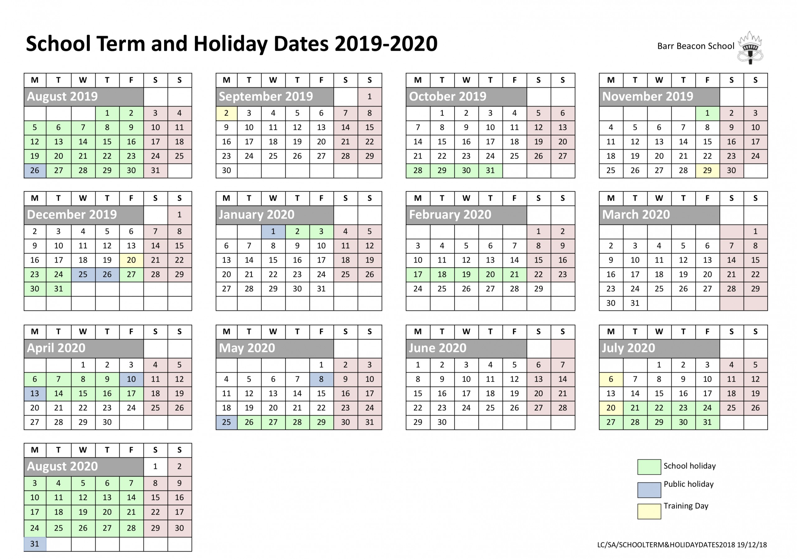 Barr Beacon School » Calendar