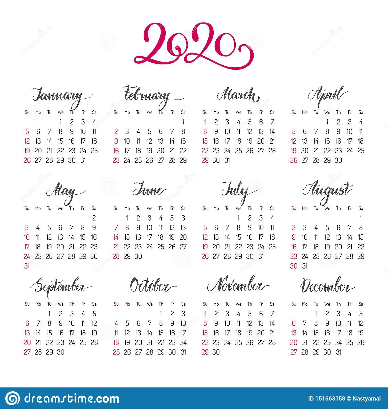 Basic Calendar Layout For 2020 Year Stock Vector