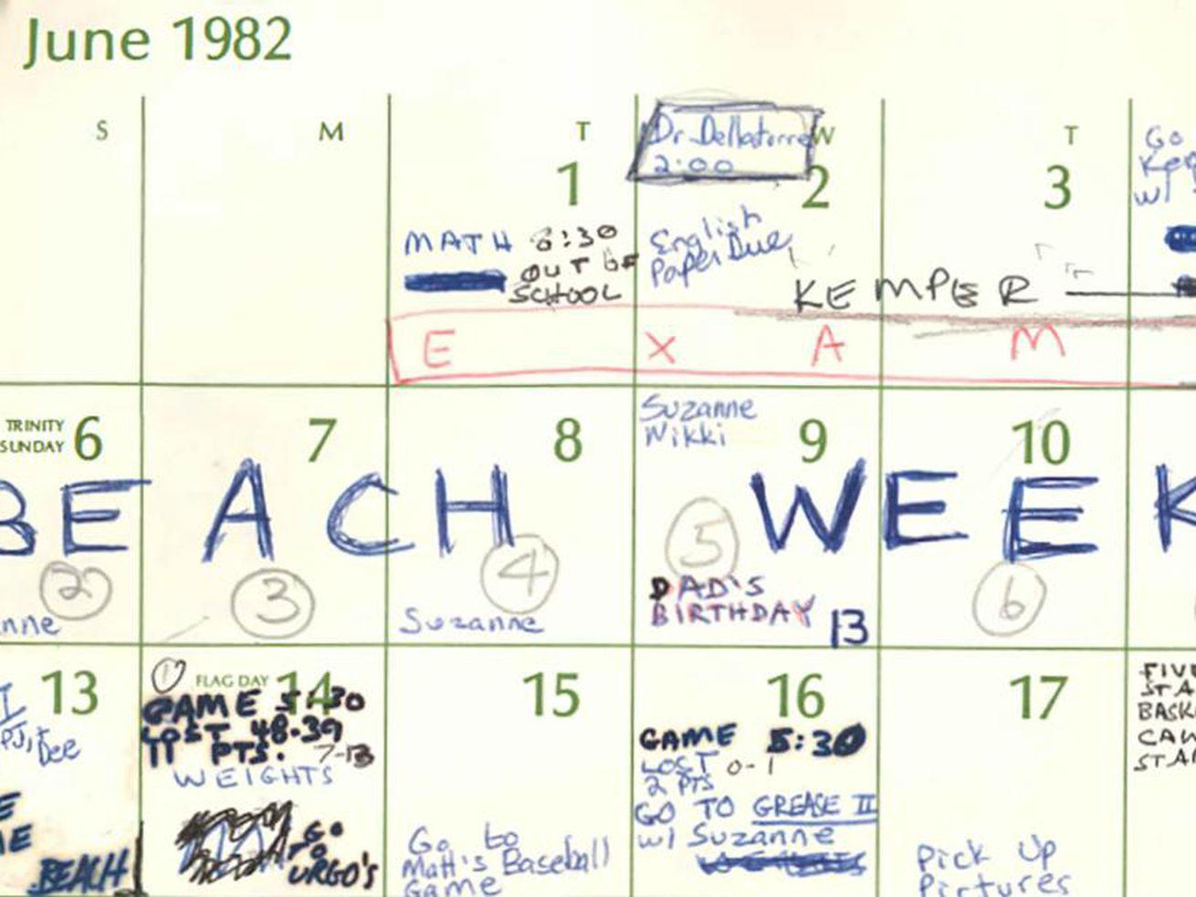 Beach Week, Brett Kavanaugh's All-Caps Calendar Entry