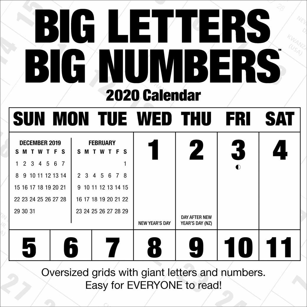 Big Letters, Big Numbers Calendar 2020