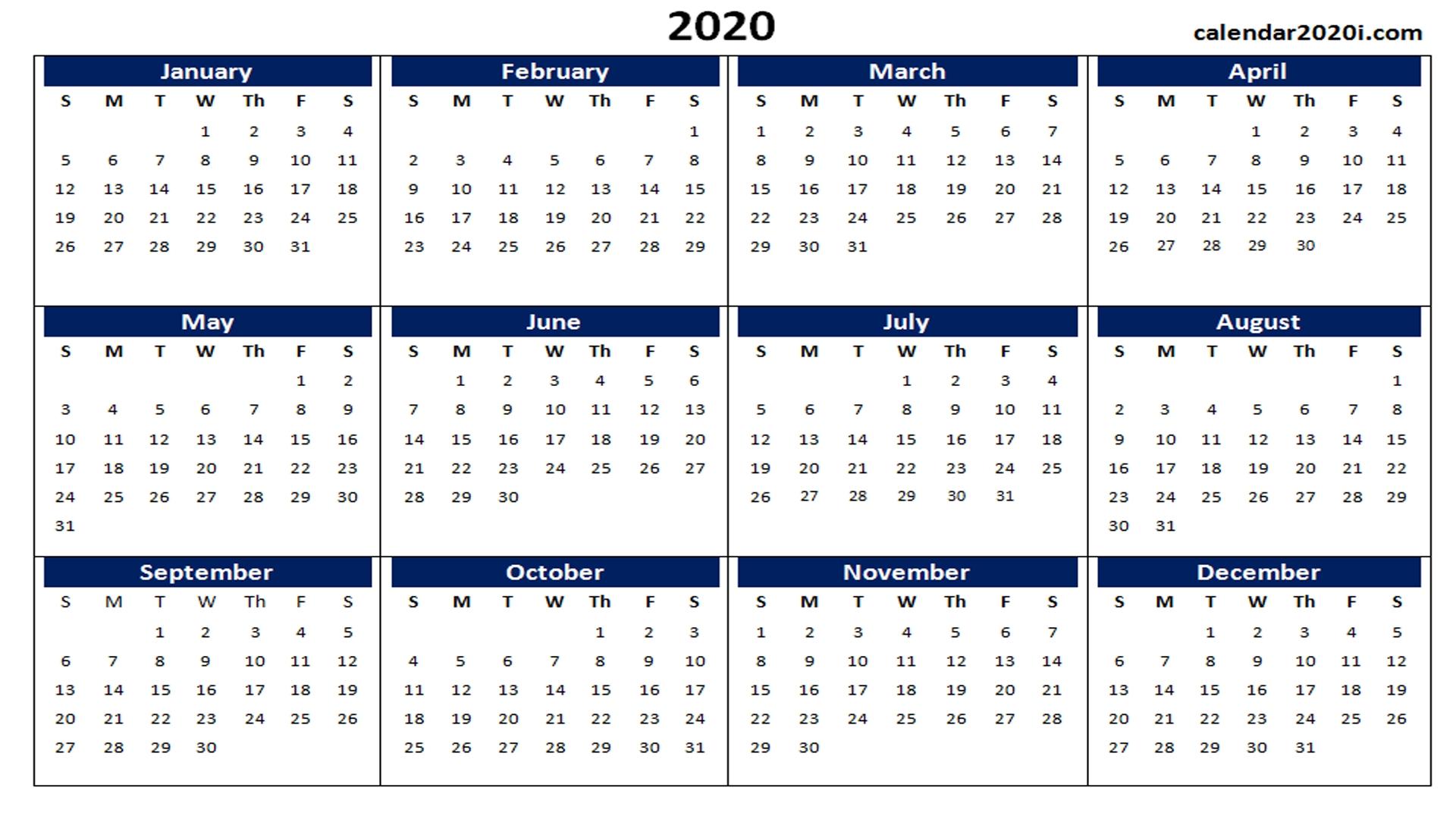 Blank 2020 Calendar Printable Templates | Calendar 2020-3