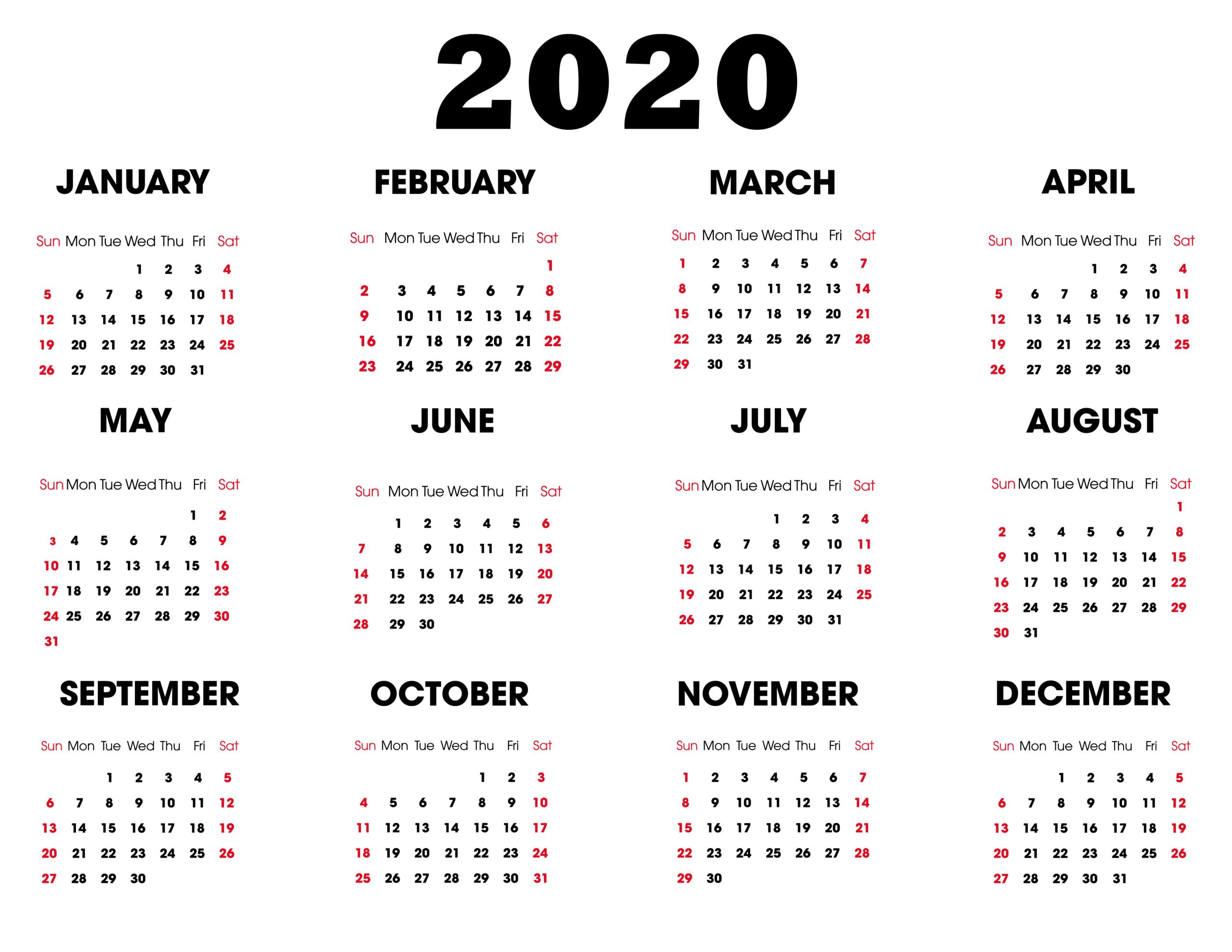 Blank Calendar 2020 Monthly Printable | 12 Month Printable