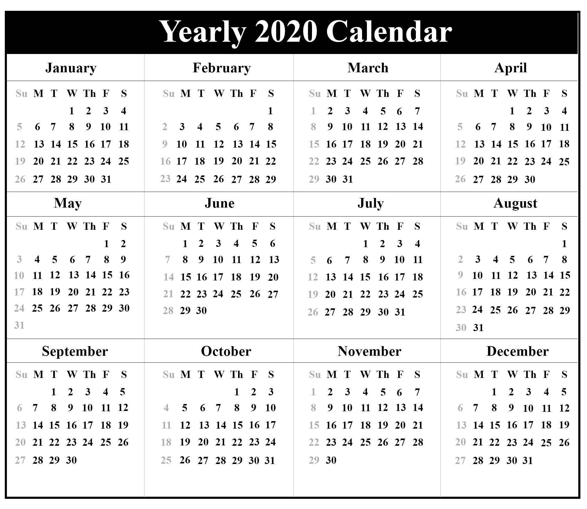 Blank Calendar 2020 Monthly Printable   12 Month Printable