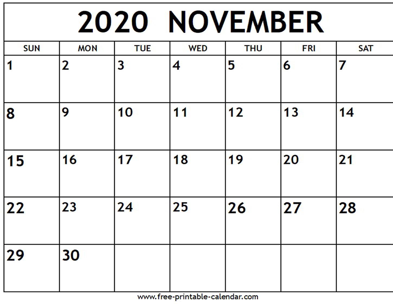 Blank Calendar November 2020 Pdf - Togo.wpart.co