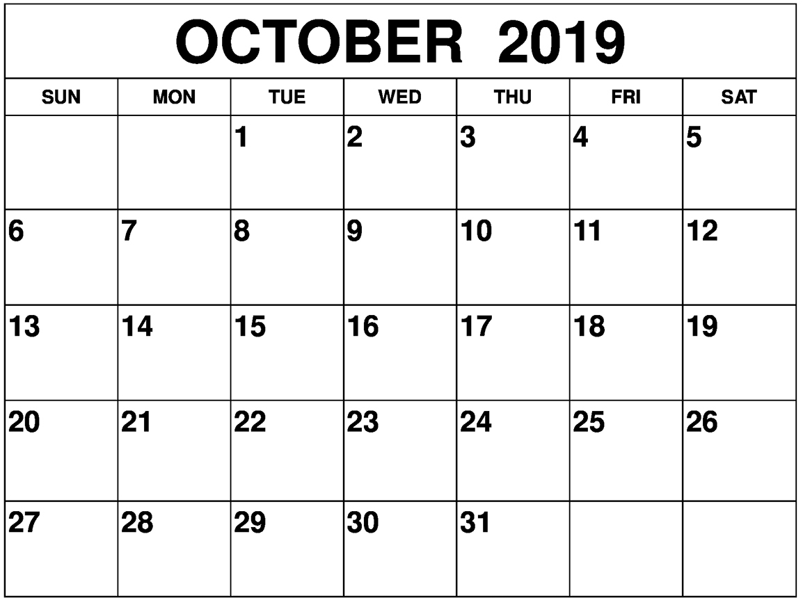 Blank Calendar October 2019 With Notes - 2019 Calendars For