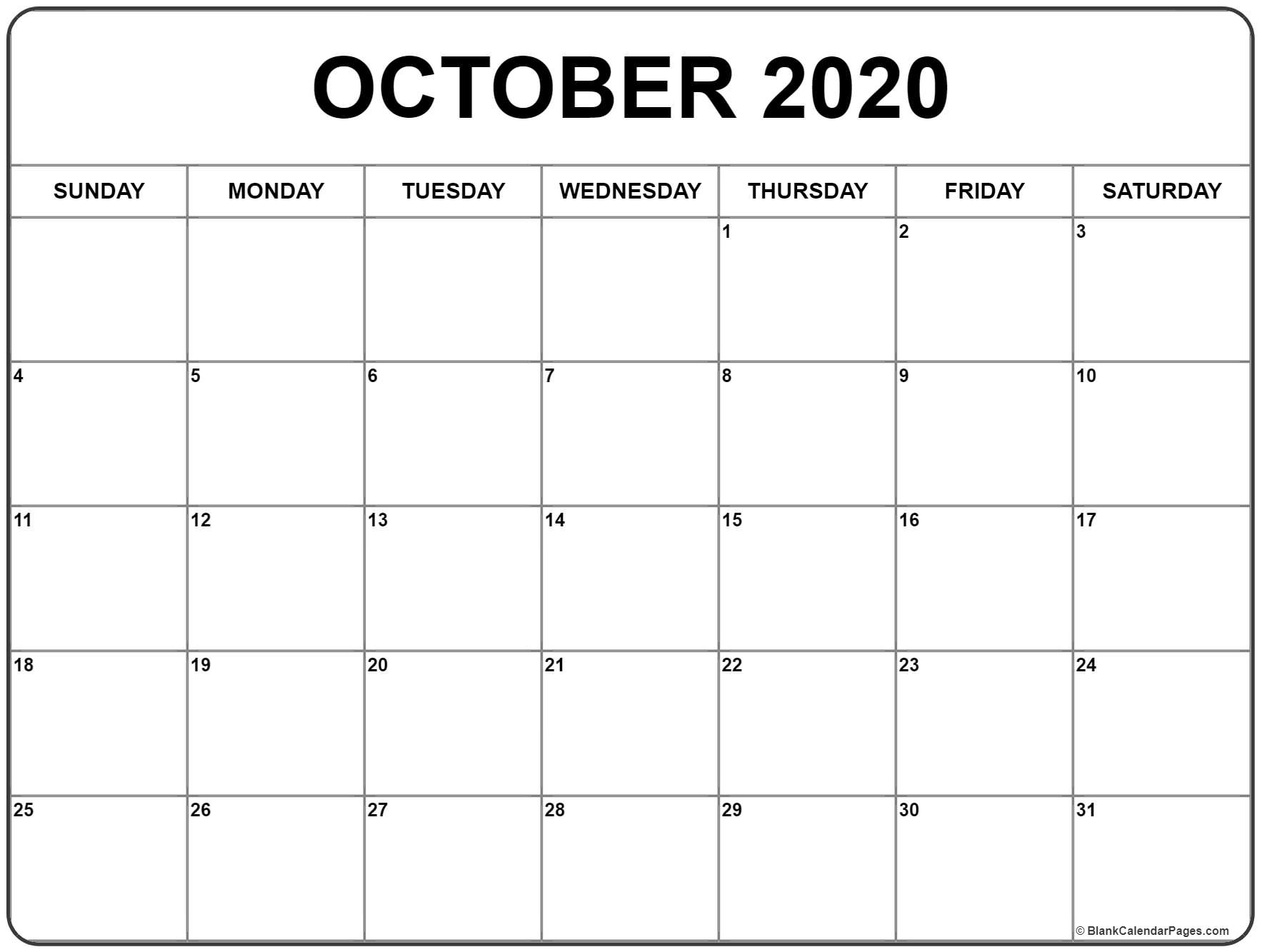 Blank Calendar October 2020 - Togo.wpart.co