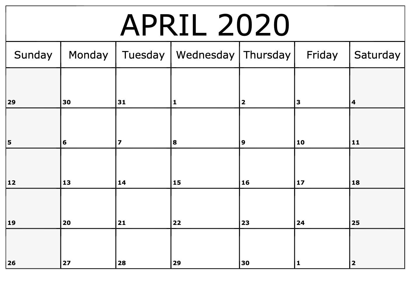 Blank Calendar Page For April 2020 | Free Printable Calendar