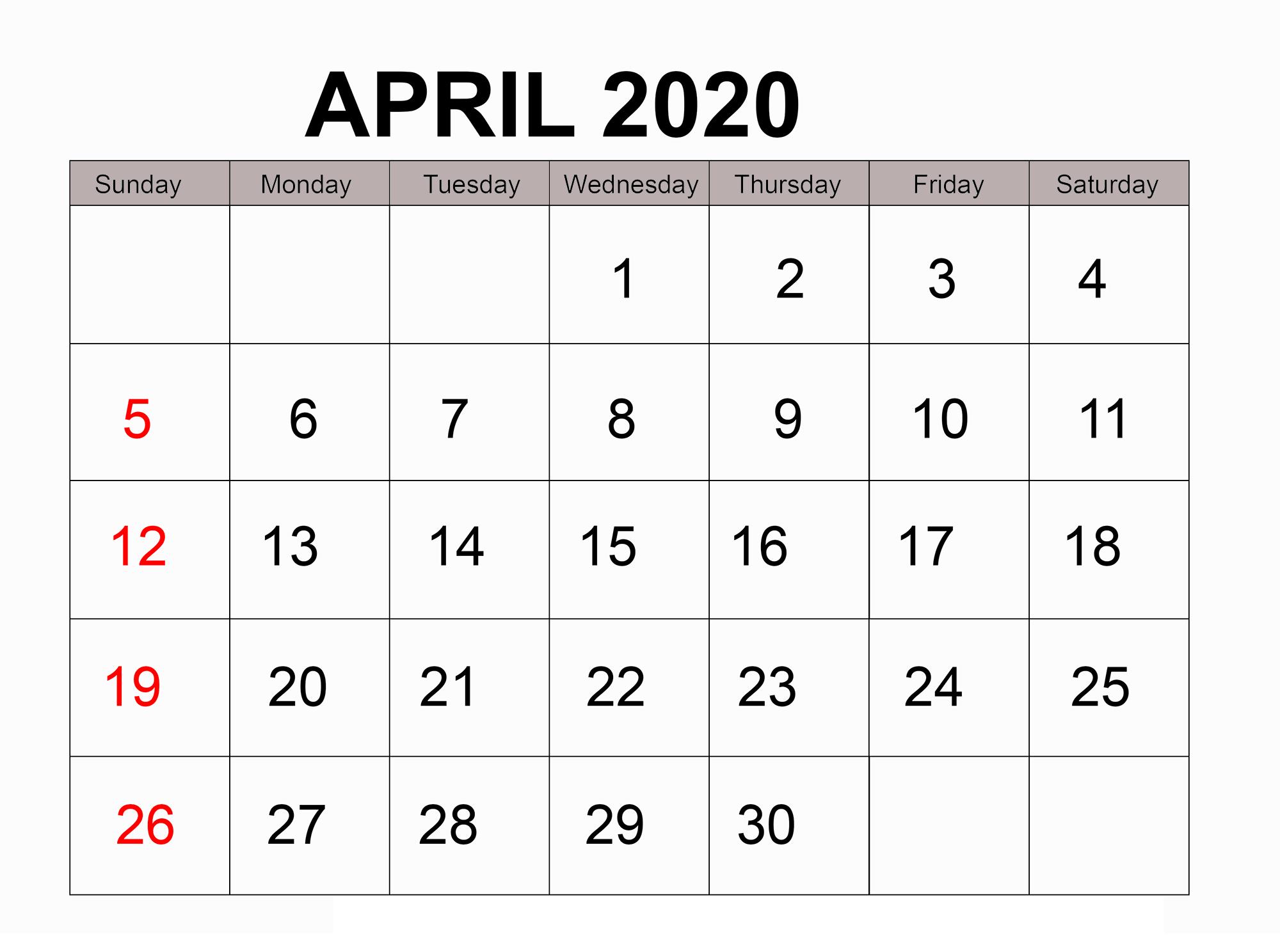 Blank Calendar Page For April 2020 | Free Printable Calendar