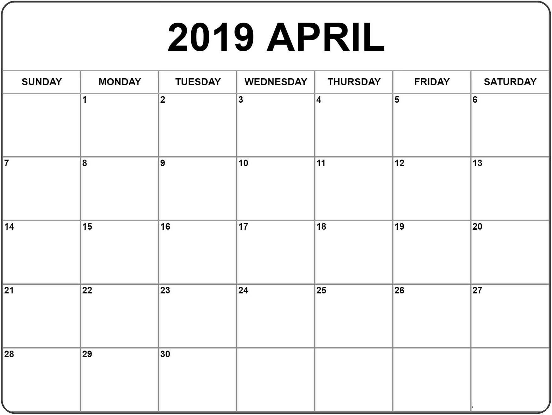 Blank Calendar Pages April 2019 | Blank Calendar Pages