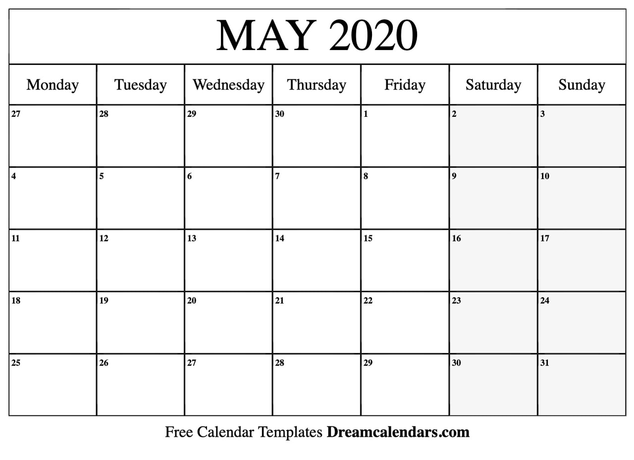 Blank Calendar Template May 2020 - Togo.wpart.co