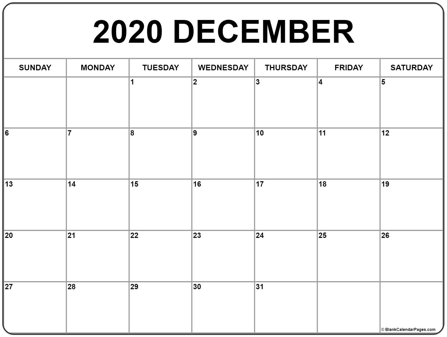 Blank Dec 2020 Calendar - Togo.wpart.co