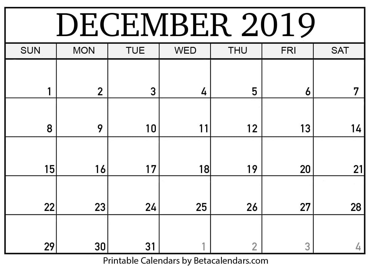 Blank December 2019 Calendar Printable - Beta Calendars
