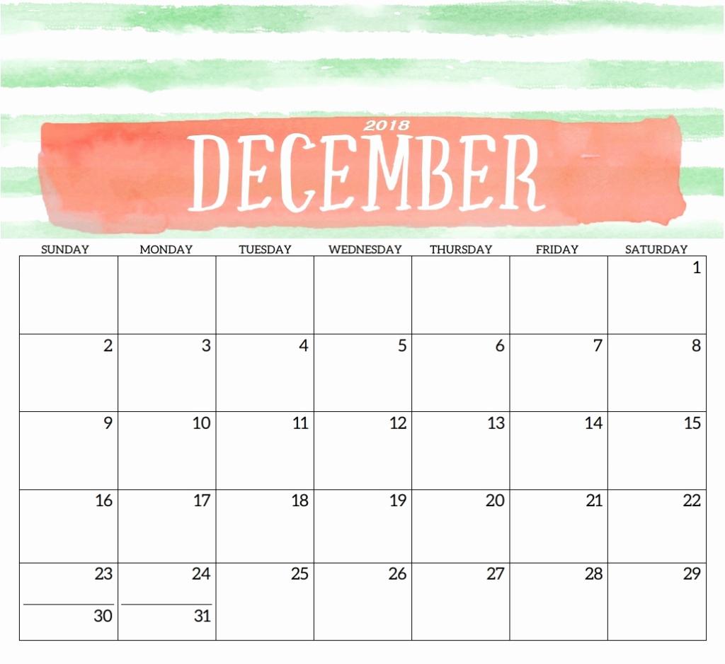 Blank December Calendar 2019 Printable Template Free