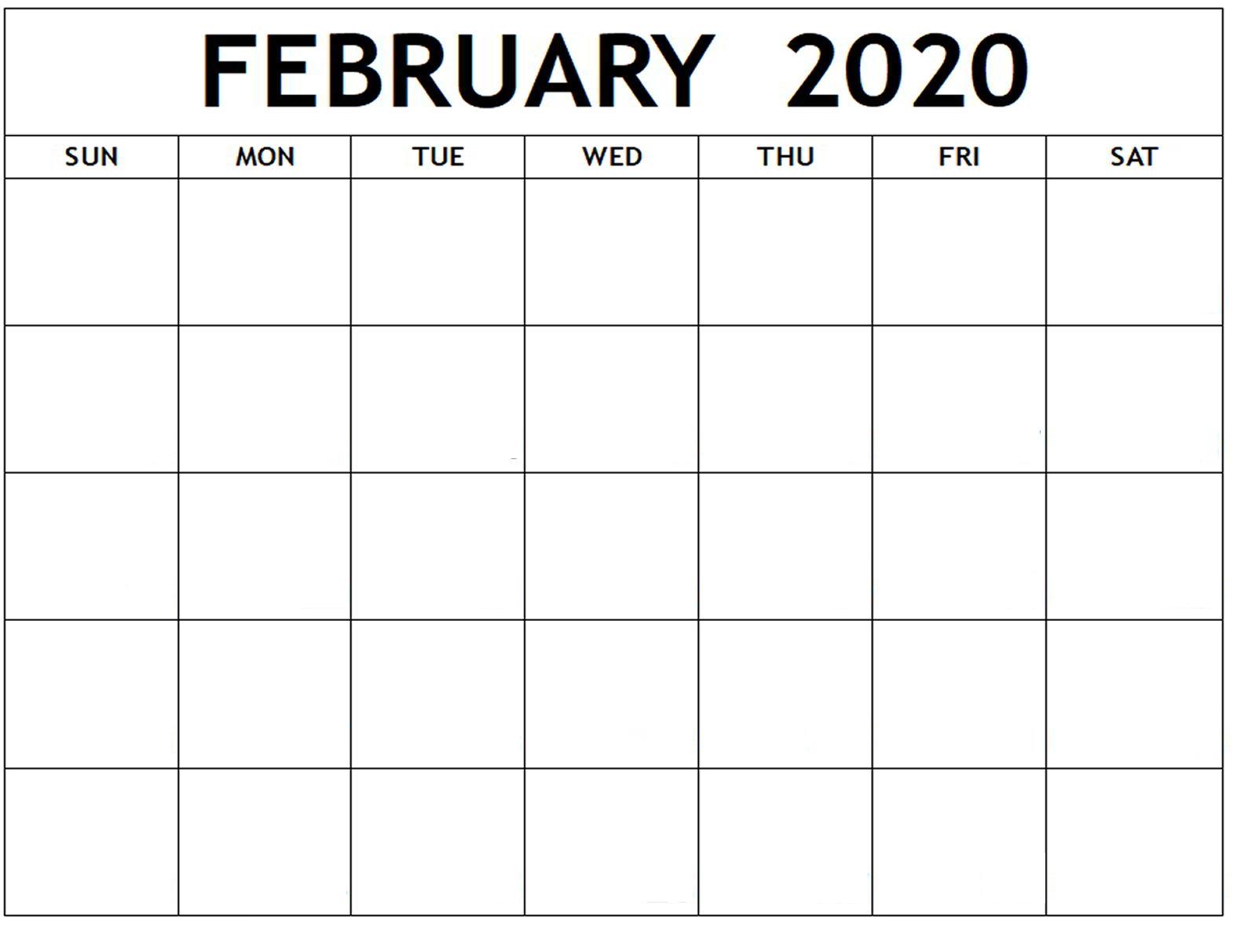 Blank February 2020 Calendar – Manage Work Activities | 12