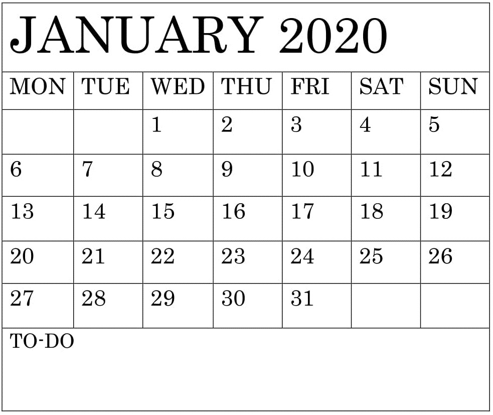 Blank January 2020 Calendar Monthly Template – Free Latest