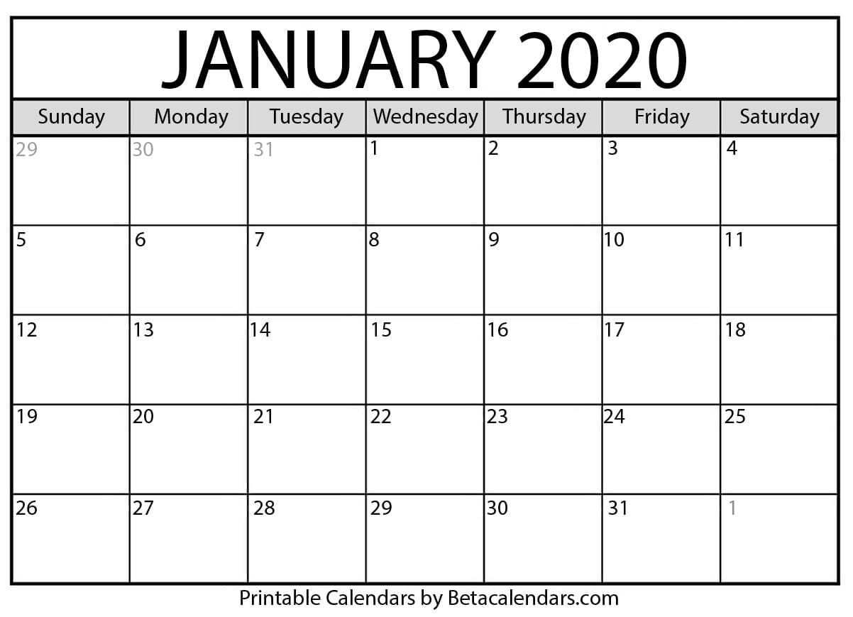 Get One Page January 2020 Calendar