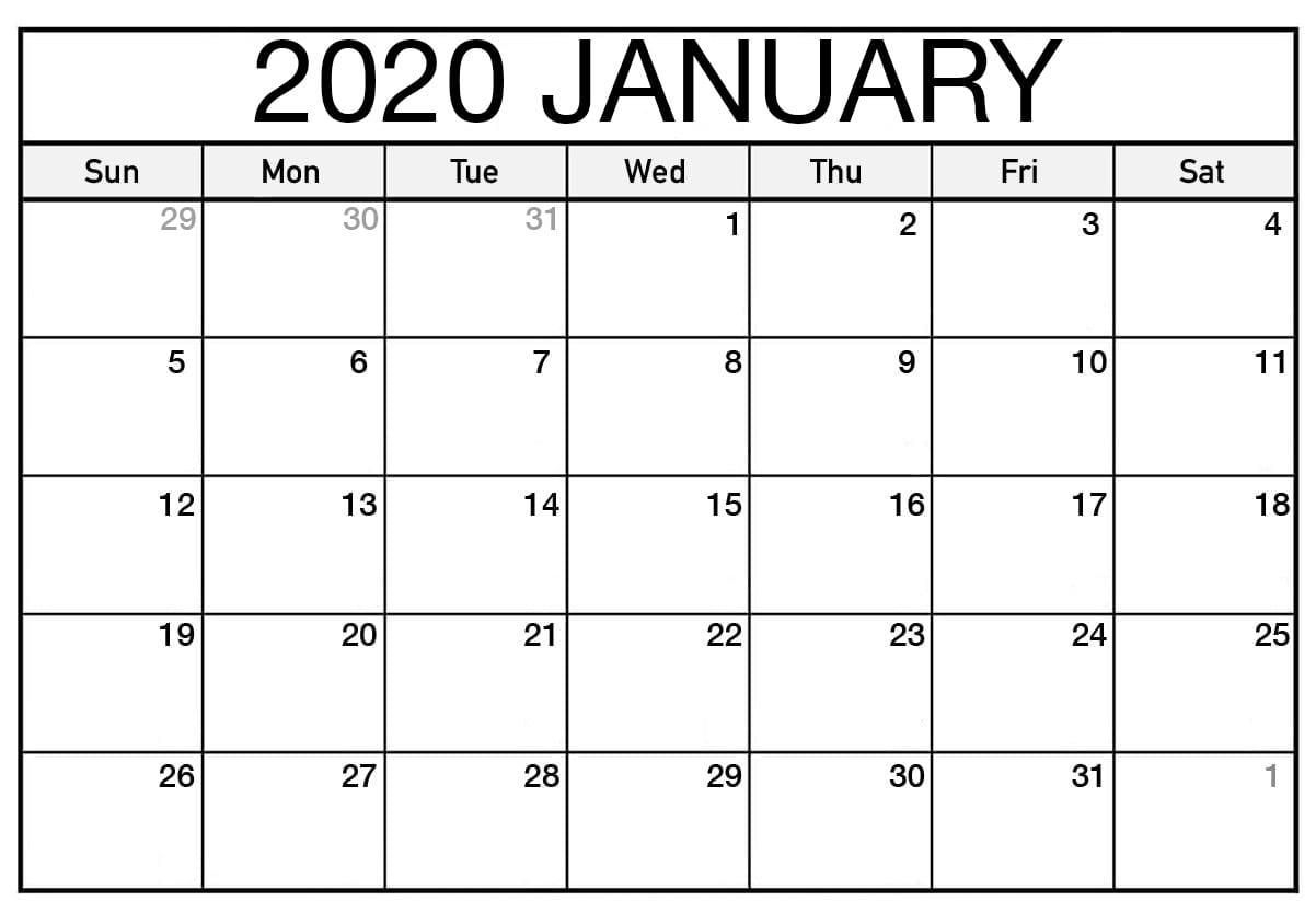 Blank January 2020 Calendar Printable #january #january2020