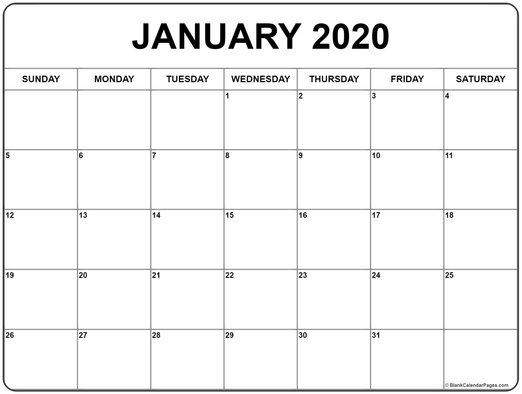 Blank January 2020 Calendar Printable - Togo.wpart.co