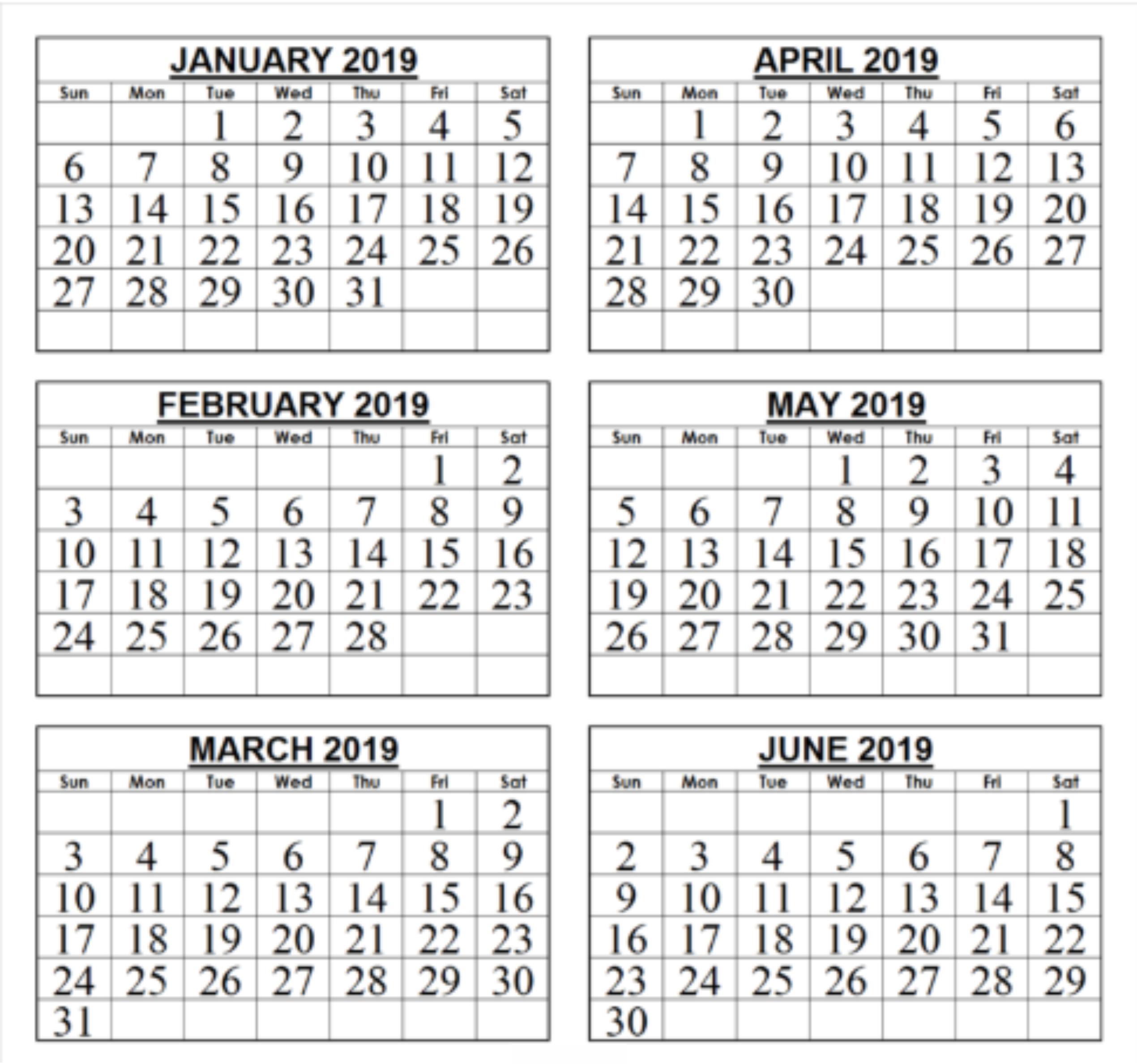 Blank January February March April Calendar 2019 | Calendar