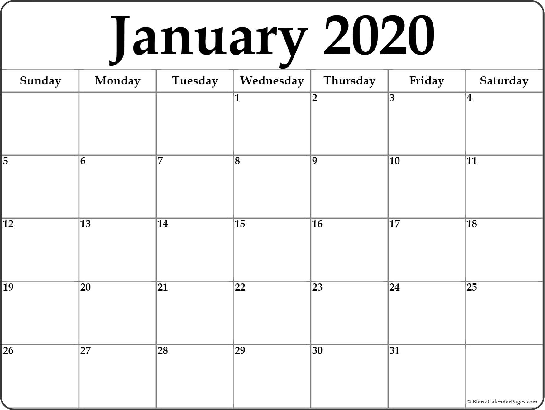 Blank Monthly 2020 Calendar - Togo.wpart.co