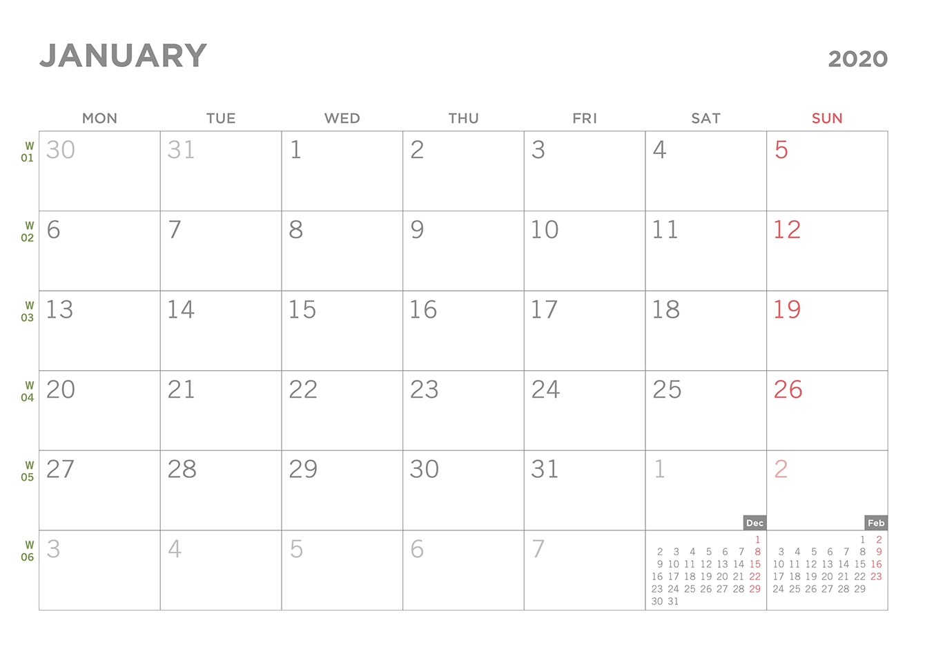 Blank Monthly Calendar 2020 Monday Through Friday Days Only