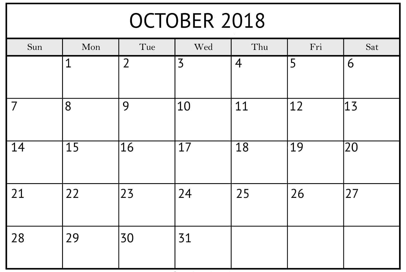 Blank October 2018 Pocket Calendar | October Calendar