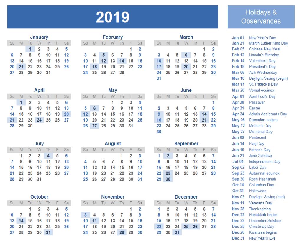 Blank Yearly Calendar 2019 Malaysia | 2018 Calendar Template