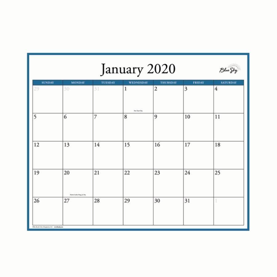 "Blue Sky™ Monthly/yearly Erasable Laminated Wall Planner, 15"" X 12"",  January 2020 To December 2020"