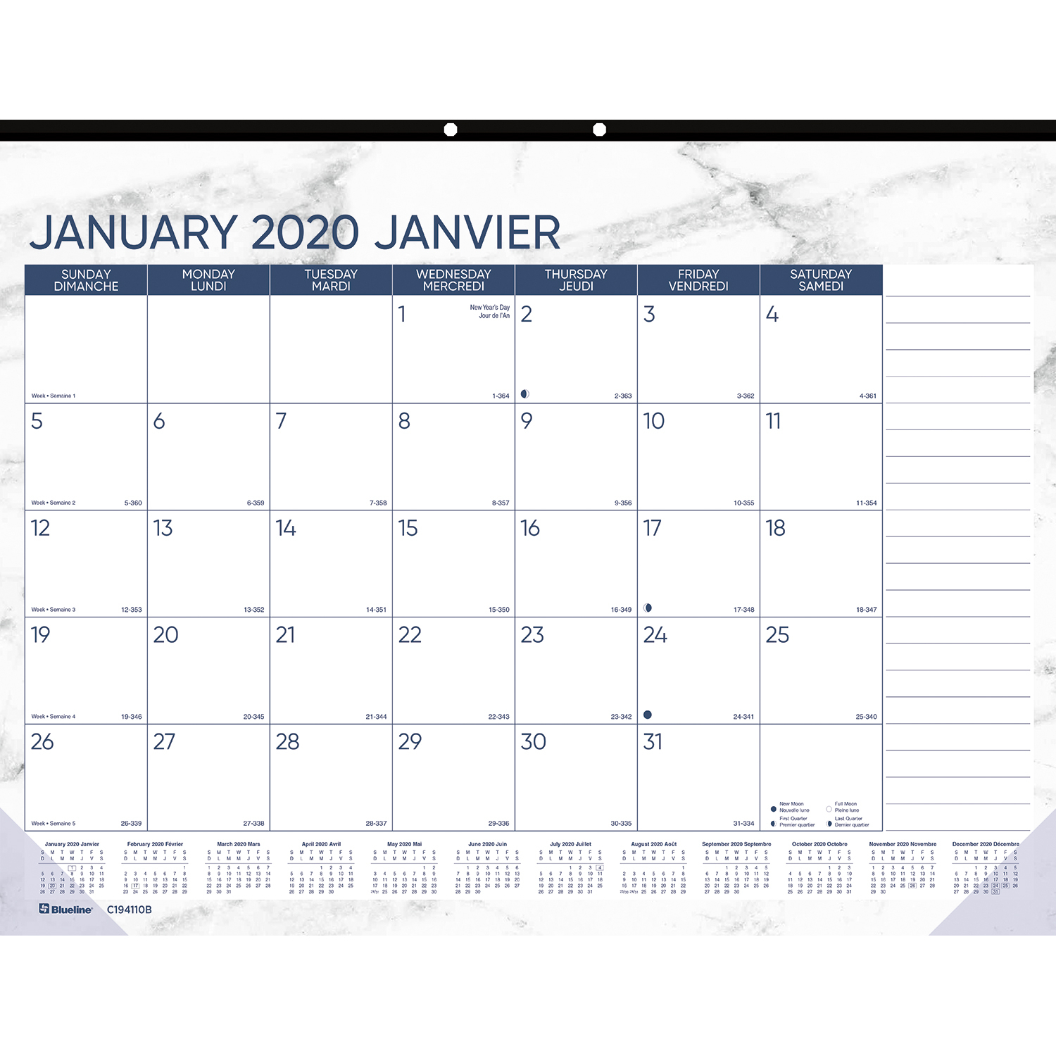 "Blueline Marble Monthly Desk Pad Calendar, 22"" X 17"
