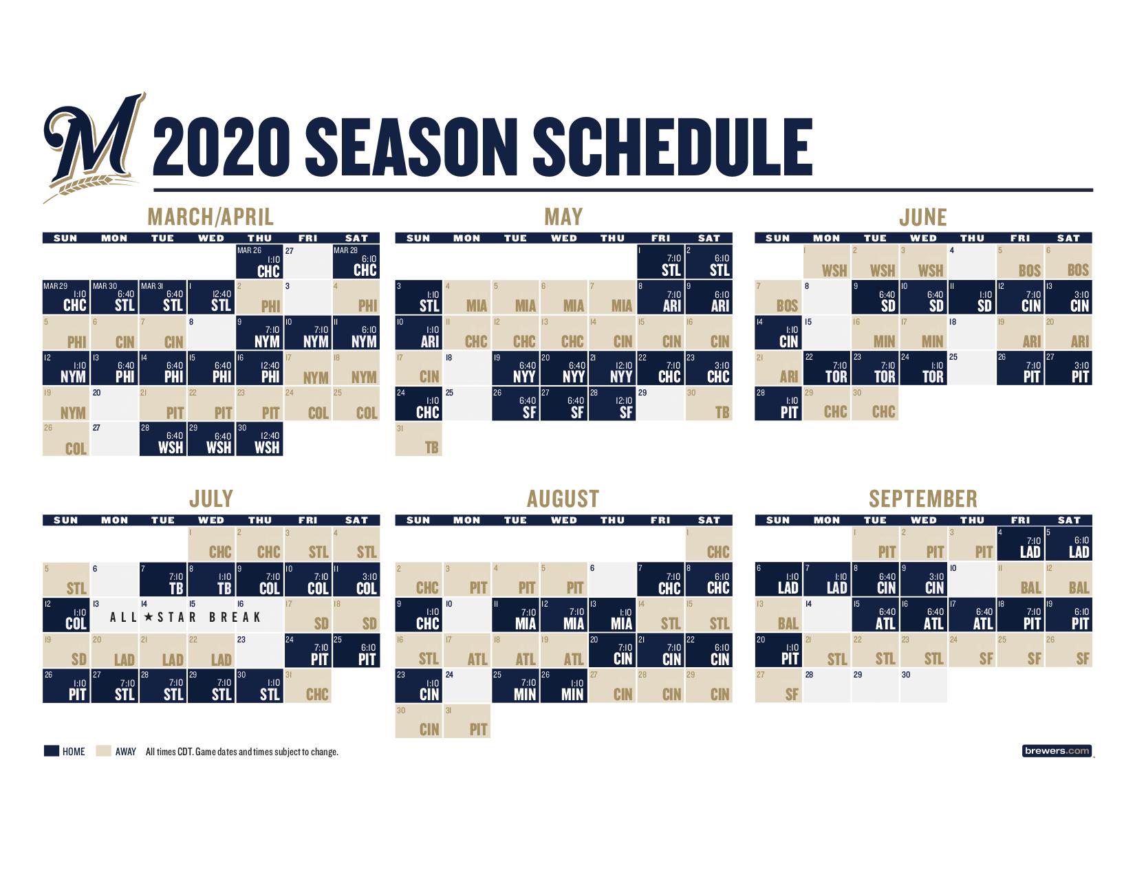 Brewers 2020 Regular-Season Schedule Released