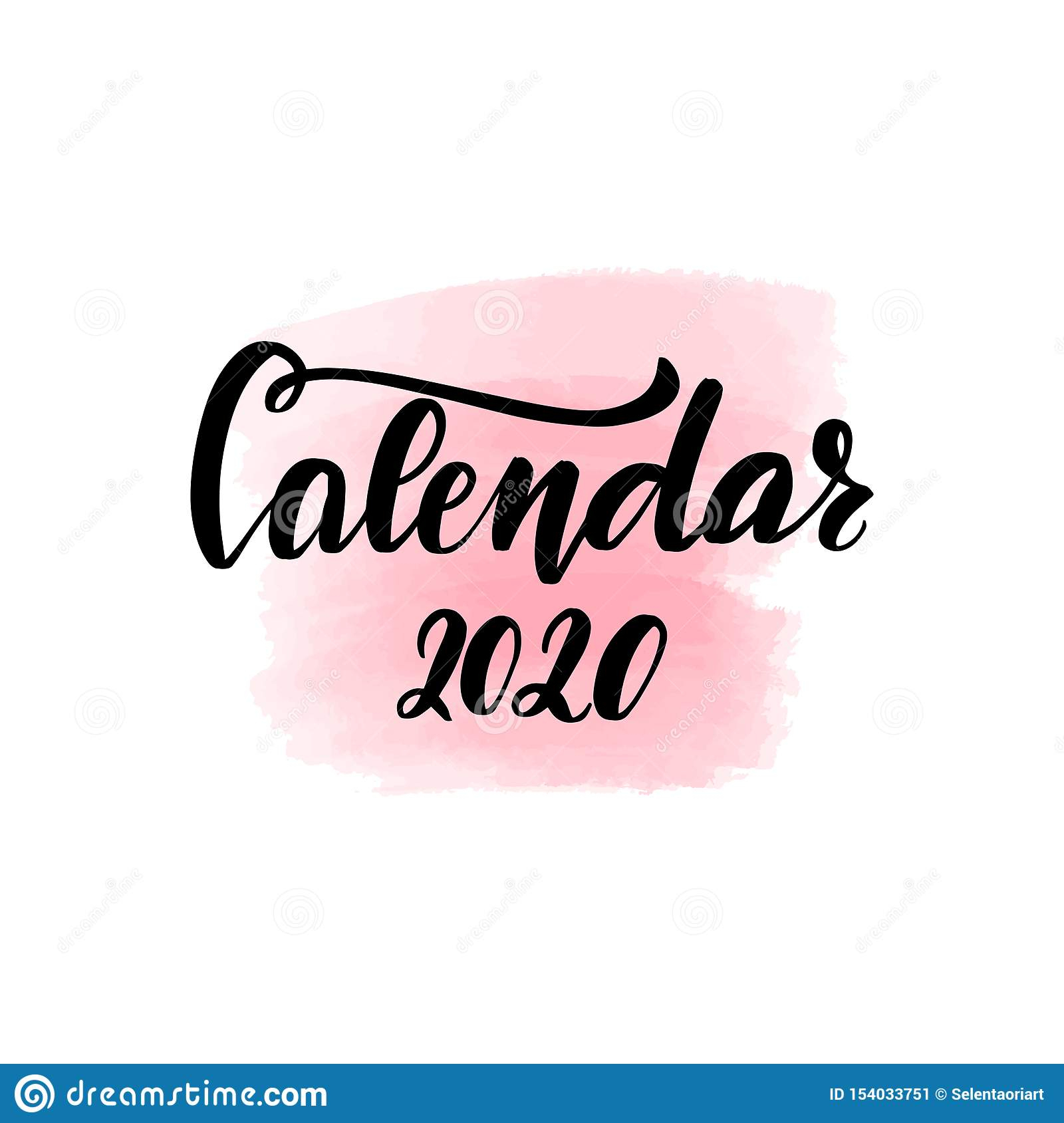 Brush Lettering Calendar 2020 Stock Vector - Illustration Of