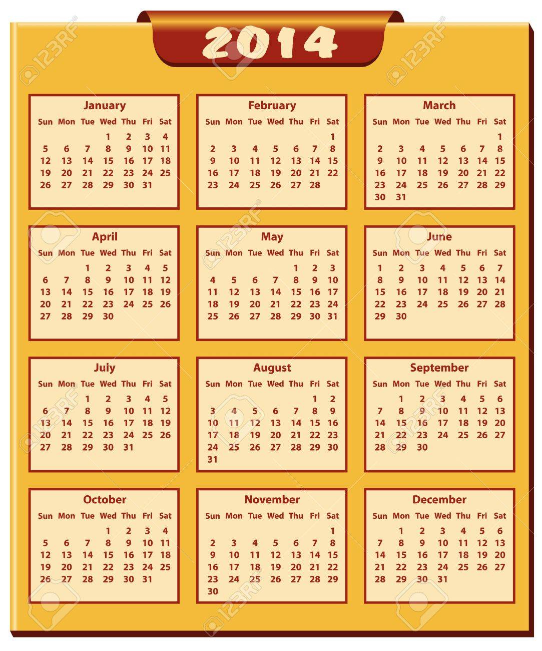 Calendar 2014 Full Year. January Through To December Months.