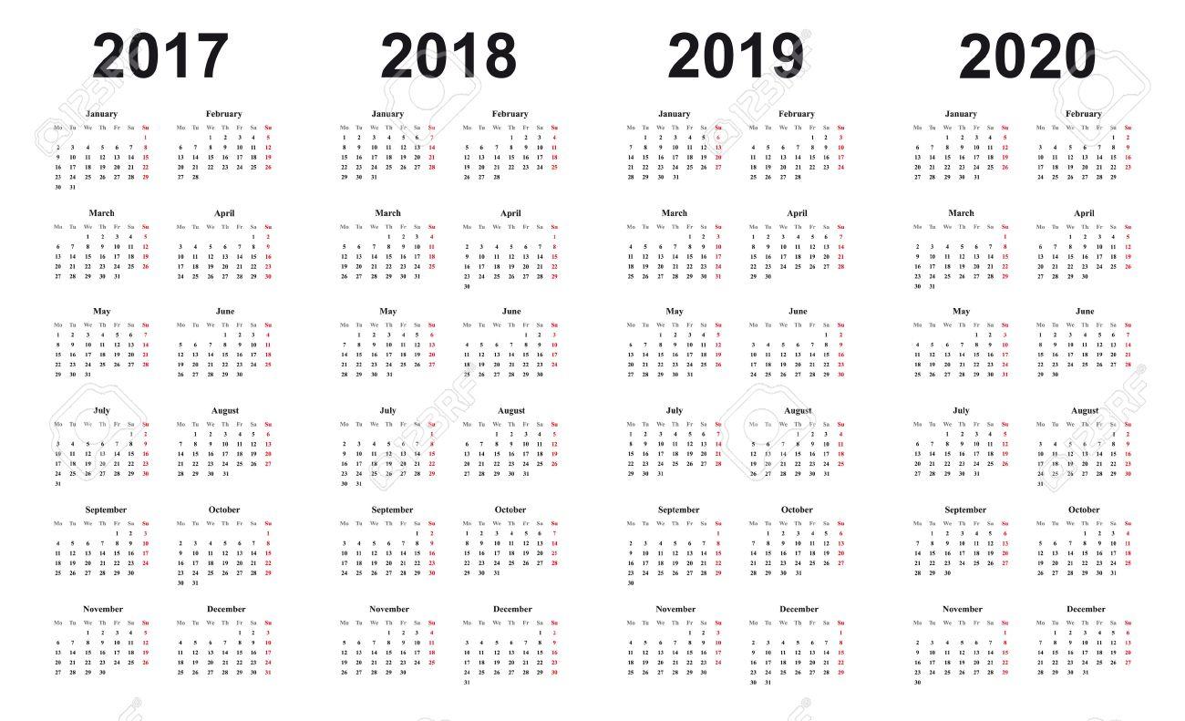 Calendar 2017, 2018, 2019, 2020, Simple Design, Black Letters..
