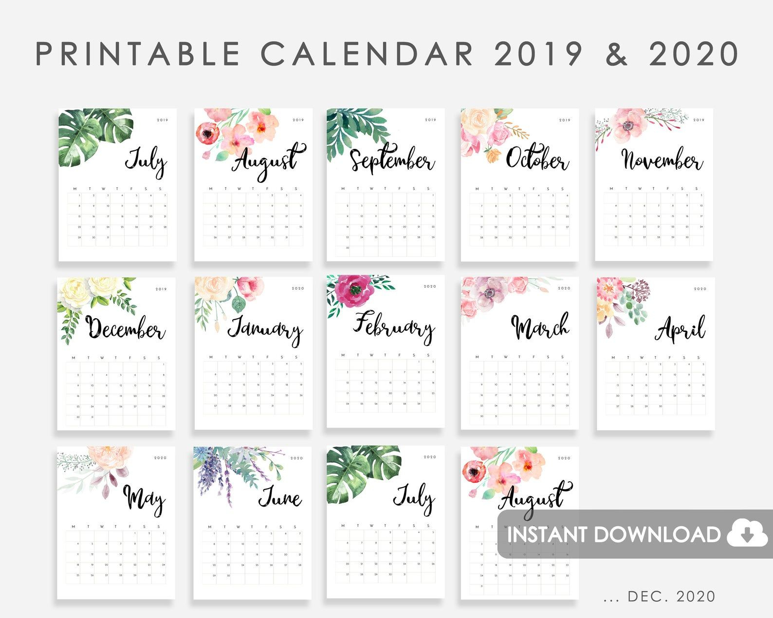 Calendar 2019-2020 Printable, Calendar Watercolor Flowers