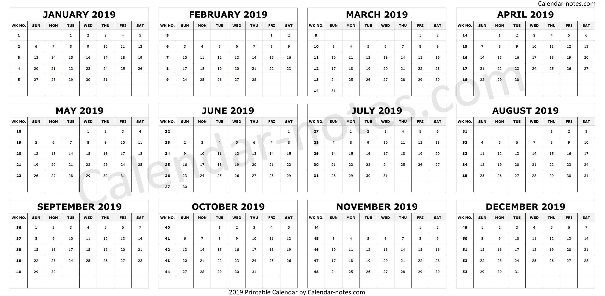 Calendar 2019 By Week Numbers   Week Number, Calendar 2019