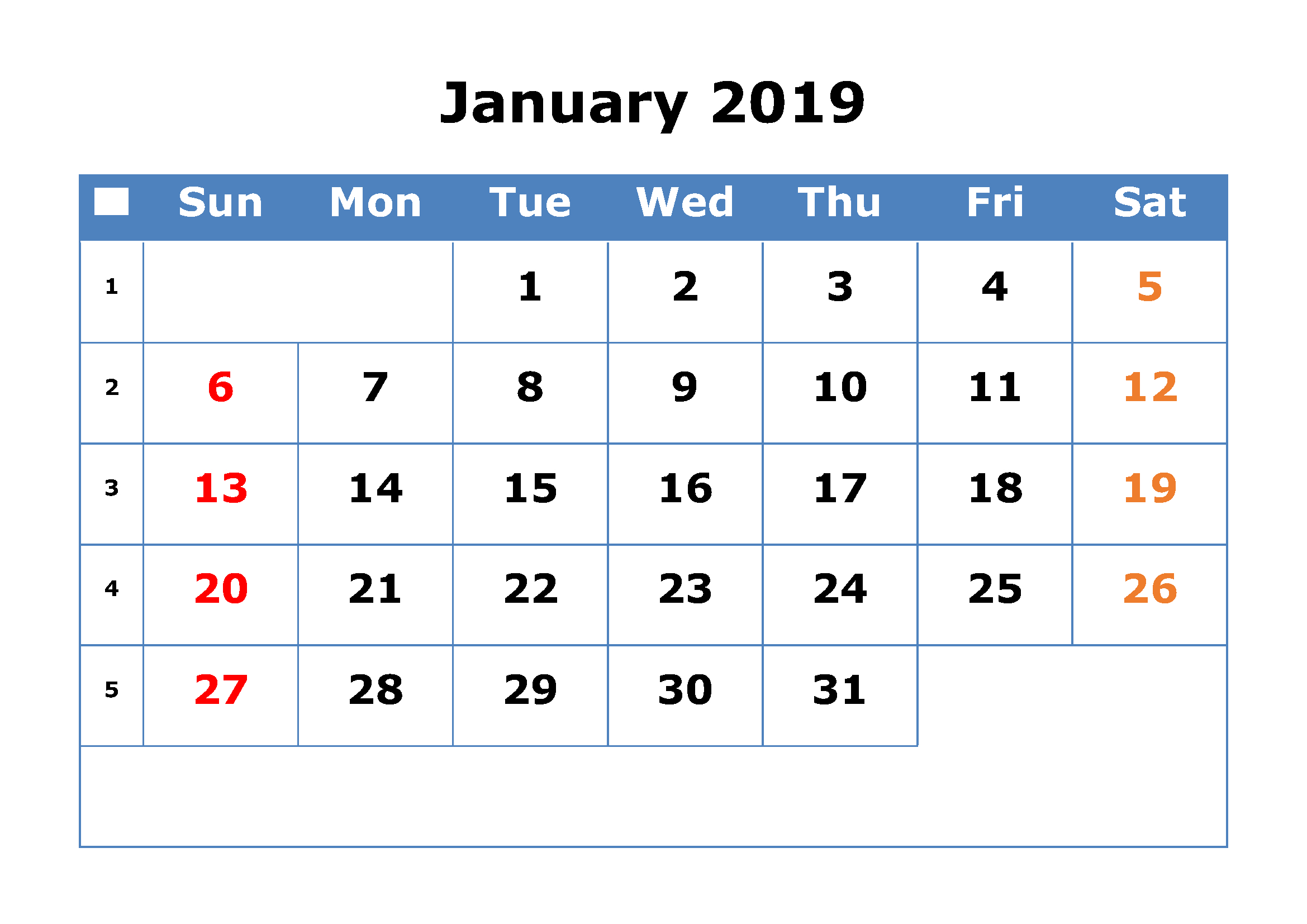 Calendar 2019 January Print One Page | Printable Calendar