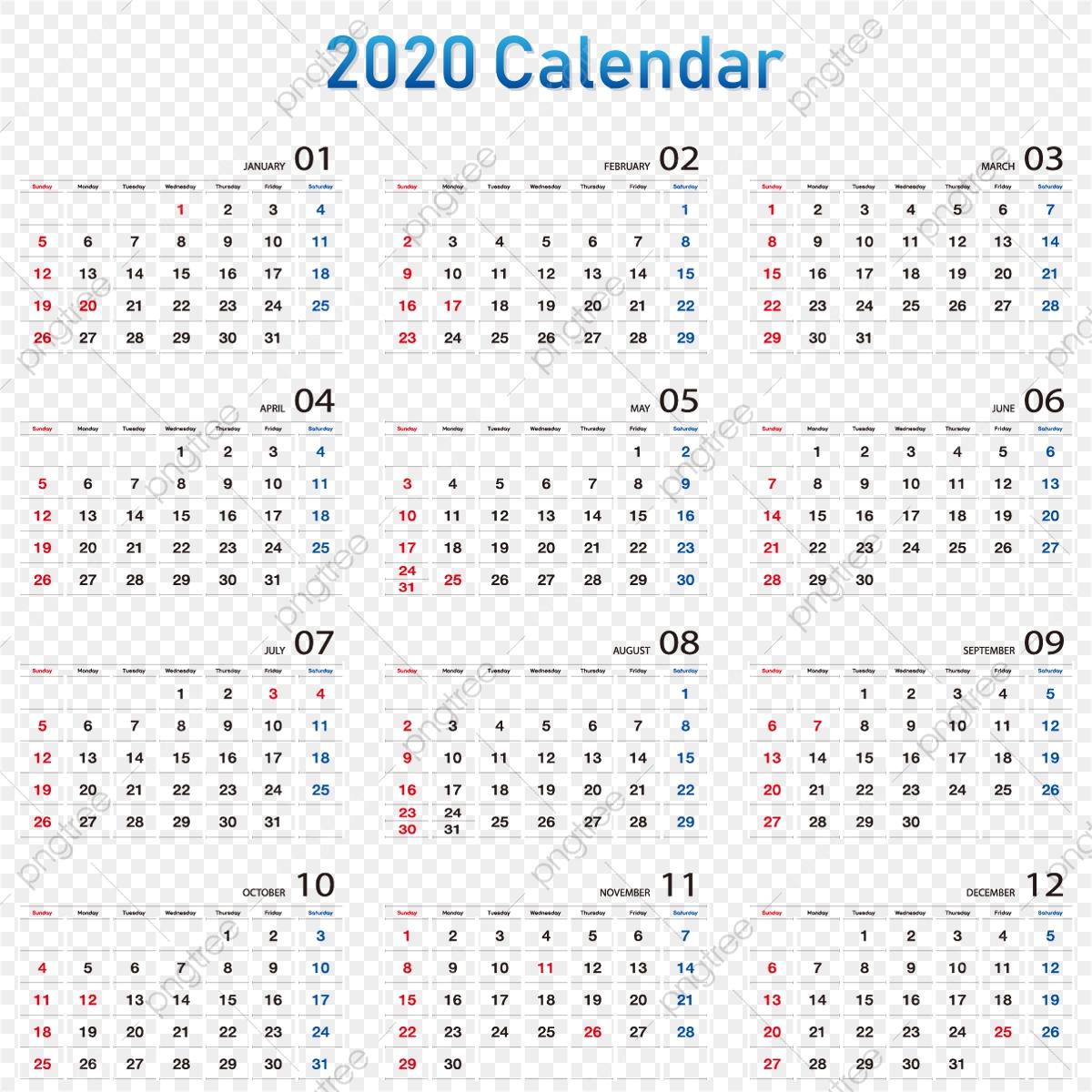 Calendar 2020 2020 Calendar, Date, Calendar, Week Png And