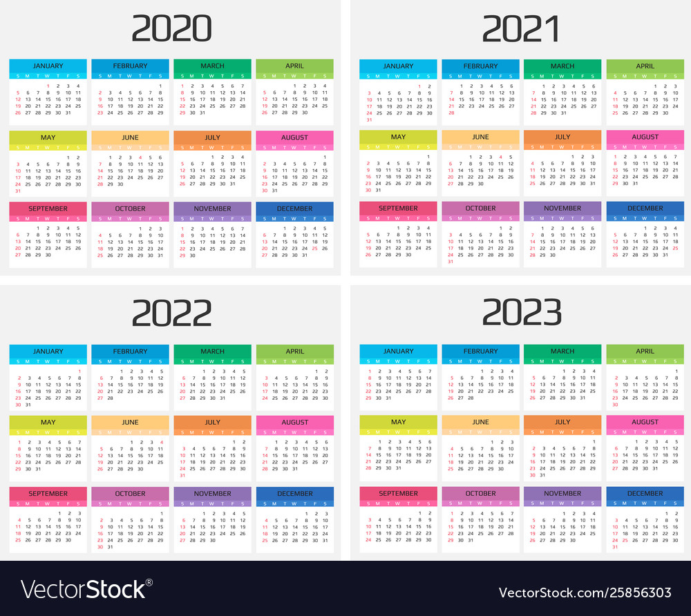 Calendar 2020 2021 2022 2023 Template 12