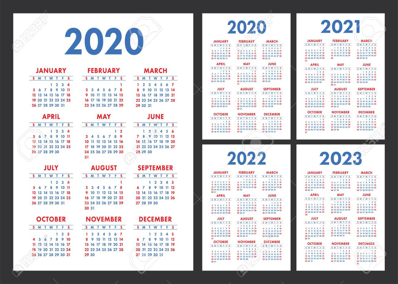 Calendar 2020, 2021, 2022 And 2023. English Color Vector Set