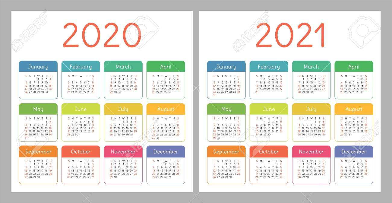 Calendar 2020, 2021. Square Vector Calender Design Template