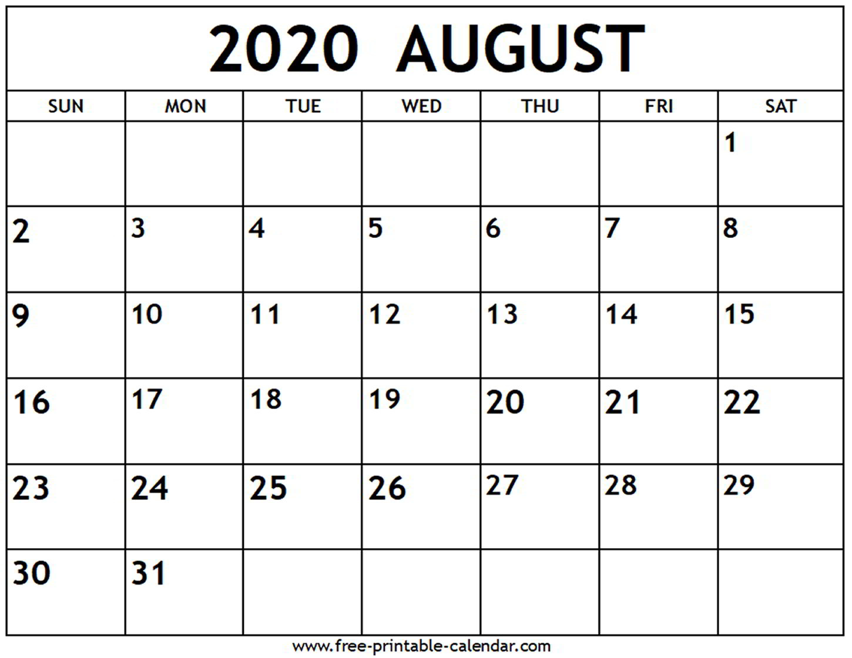 Calendar 2020 August Printable - Togo.wpart.co