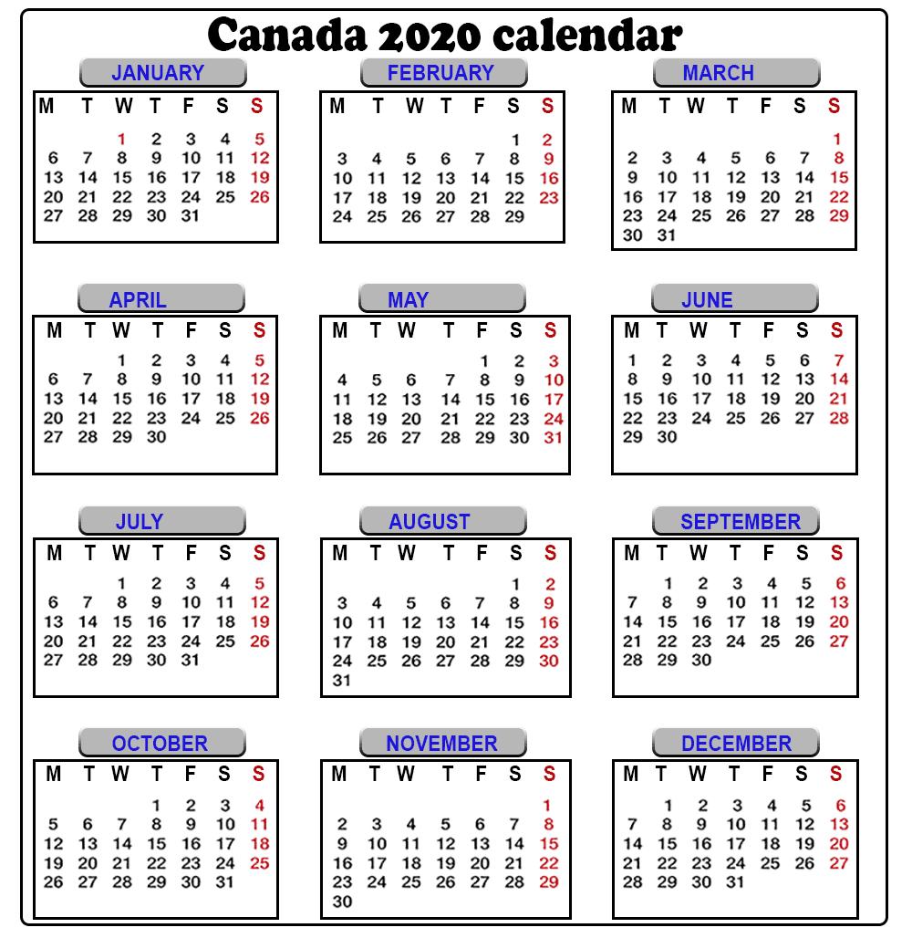 Calendar 2020 Canada - Togo.wpart.co
