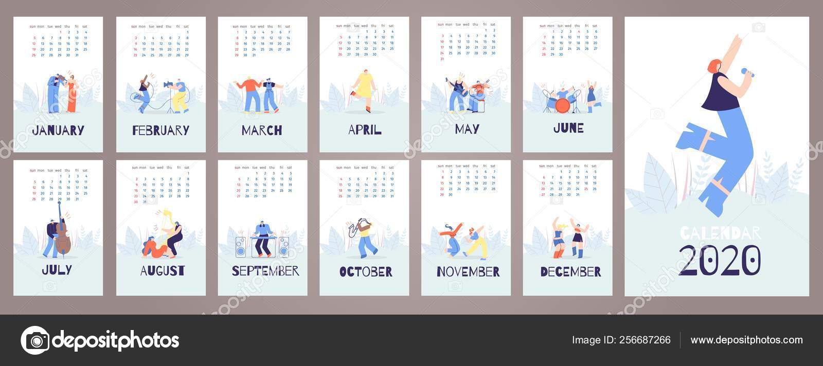 Calendar 2020 Cards Template Music People Style — Stock
