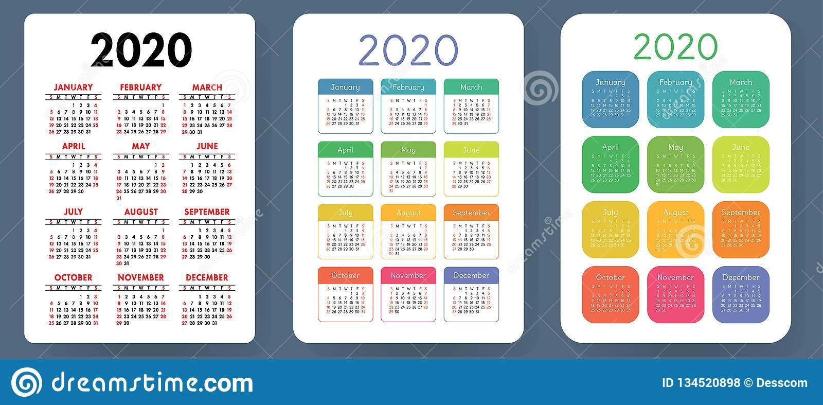 Calendar 2020. Colorful Vector Set. Pocket Calender