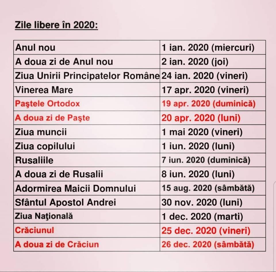 Calendar 2020 Cu Sarbatori Legale Romania - Zile Libere 2020
