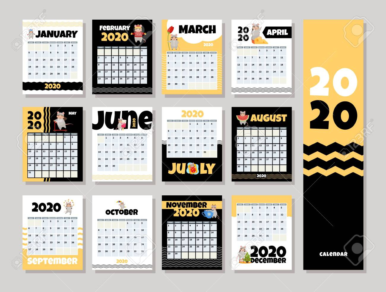 Calendar 2020. Cute Monthly Calendar With Girl In Mouse Costume