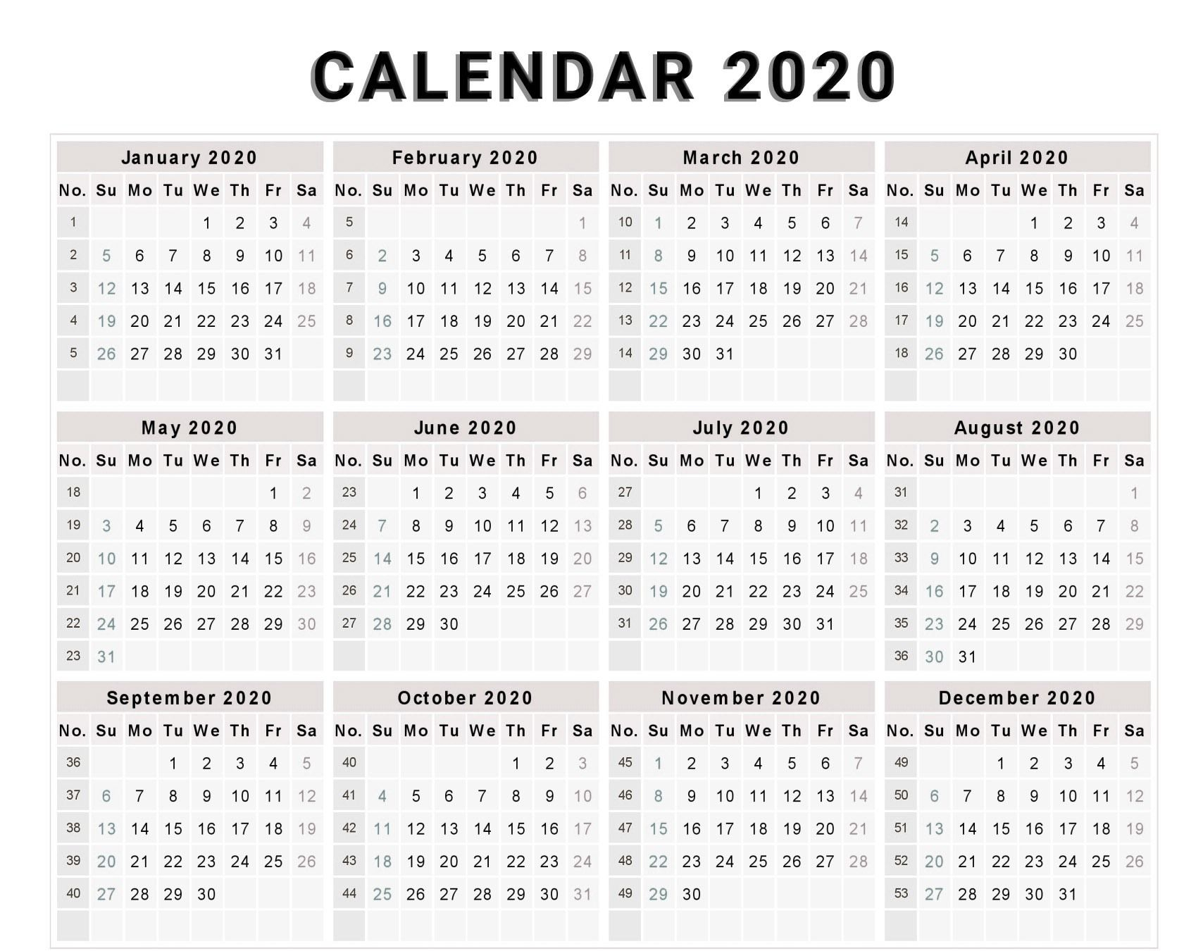 Calendar 2020 Free Template With Weeks   Monthly Calendar