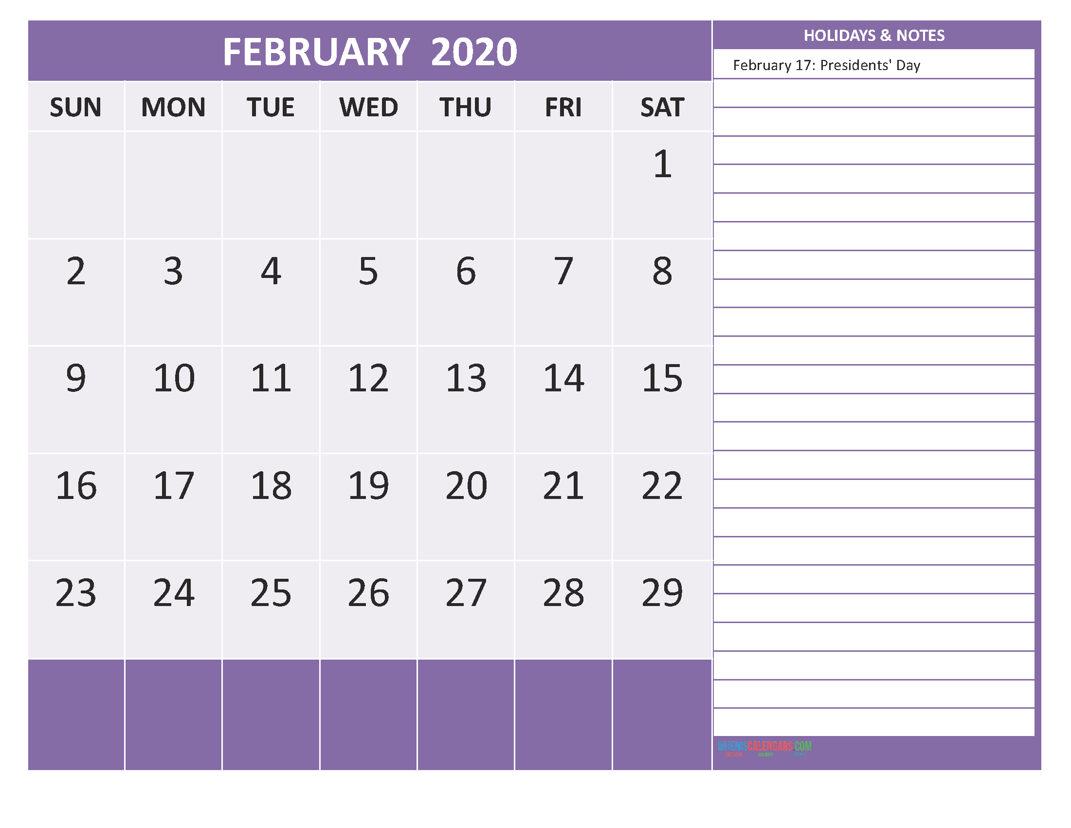 Calendar 2020 Holidays - February 2020 Calendar With