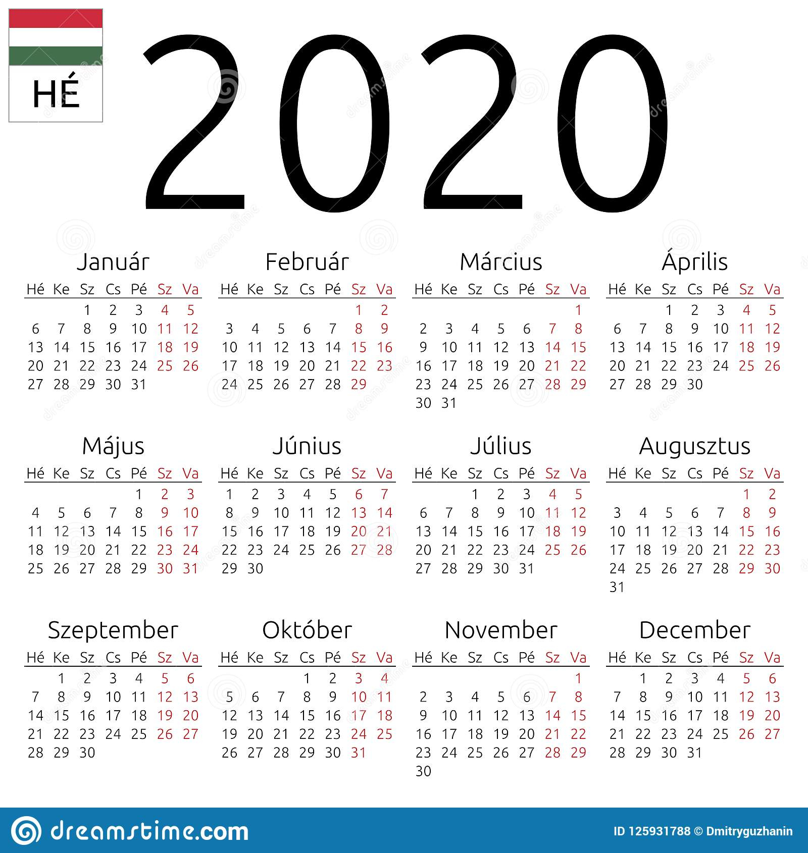 Calendar 2020, Hungarian, Monday Stock Vector - Illustration